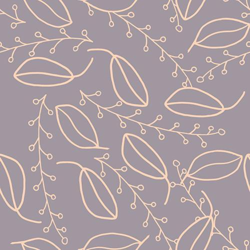 This simplistic design includes a lavendar background with line drawing of leaf-like pods and berries on a vine in a pale pink color.