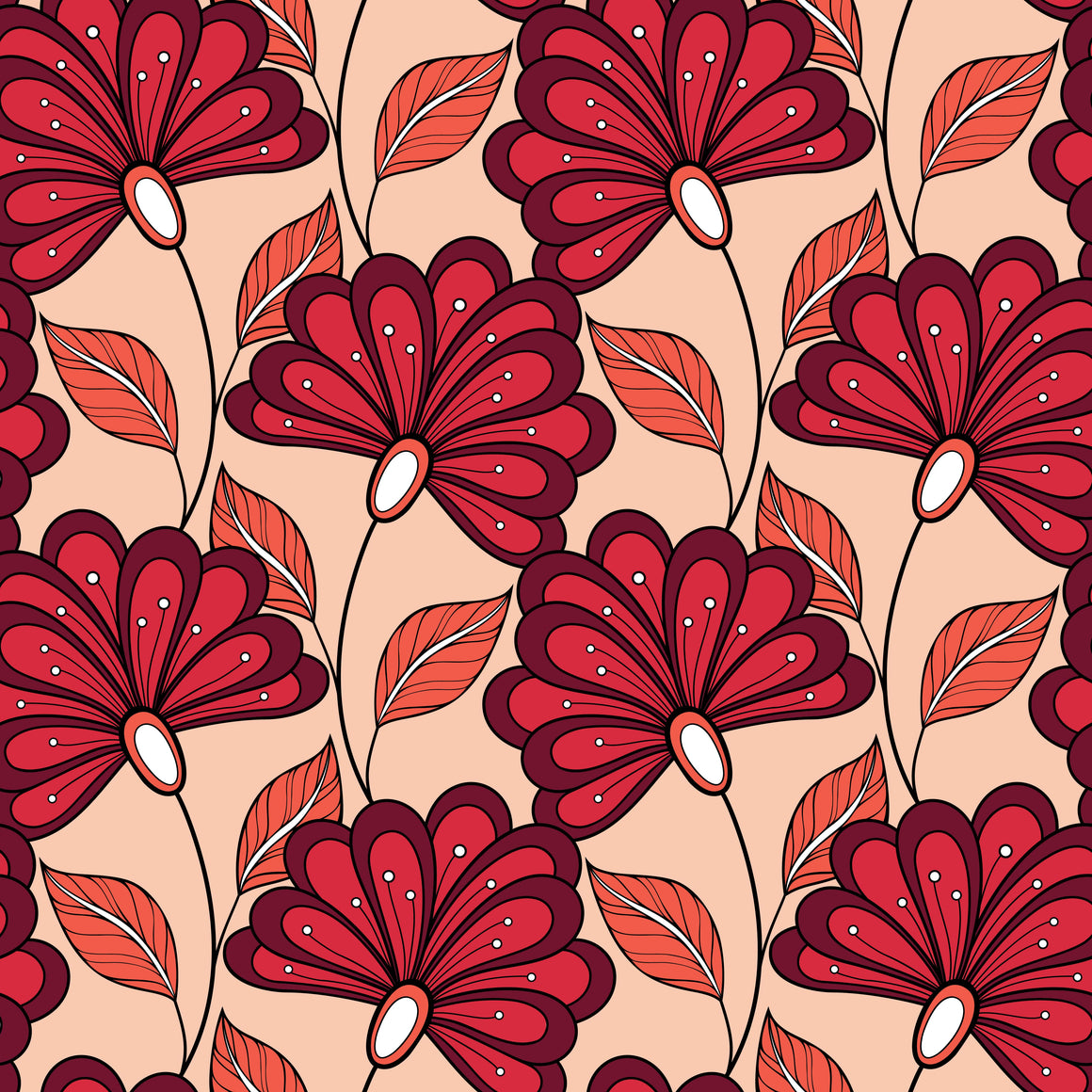Feather looking red flowers on vines with red-orange leaves and a peach background