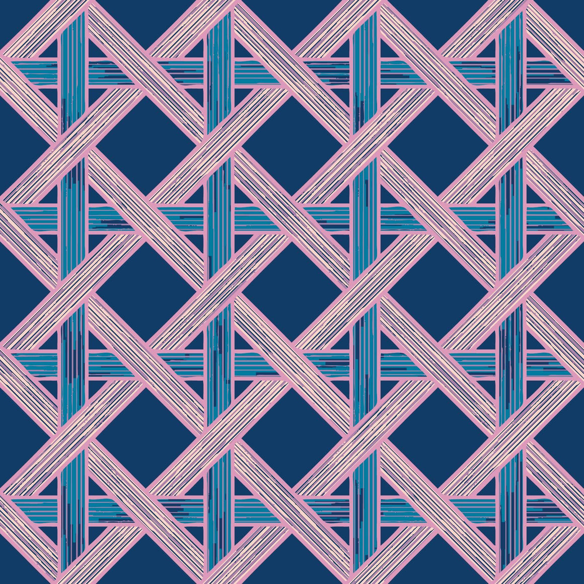 Thick, textured stripes in shades of blue and green weaving together like a basket in vertical, horizaontal, and diagonal directions to create diamond shapes on a navy background.
