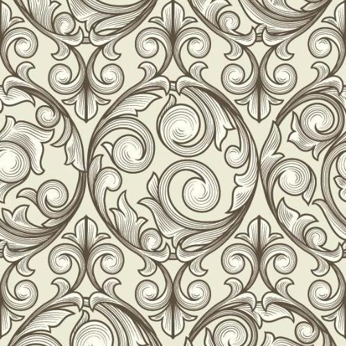 Thick demask design that is shaded in a light tan color on a cream background.