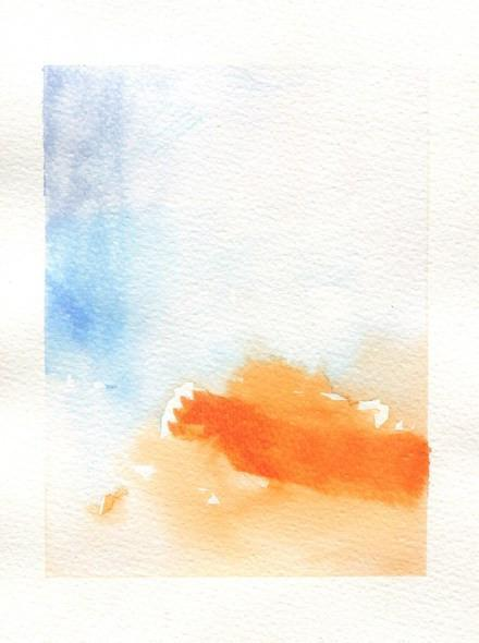 Watercolor artwork of orange and blue ink strokes on a white background