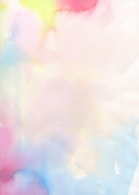 Watercolor artwork of multi-colored ink blotches of pinks, blues, yellows, and purples