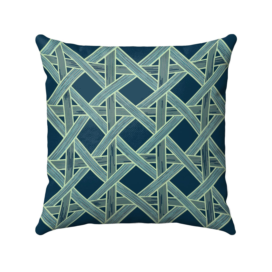 Wicker basket weaves with green and navy details on a dark navy background