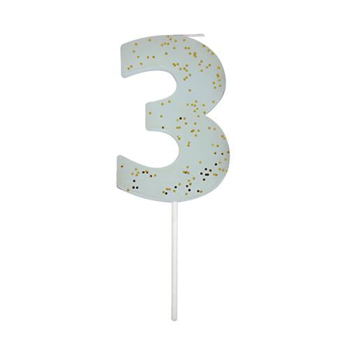 Blue Number 3 Party Candle-Candles-BerryPom & James