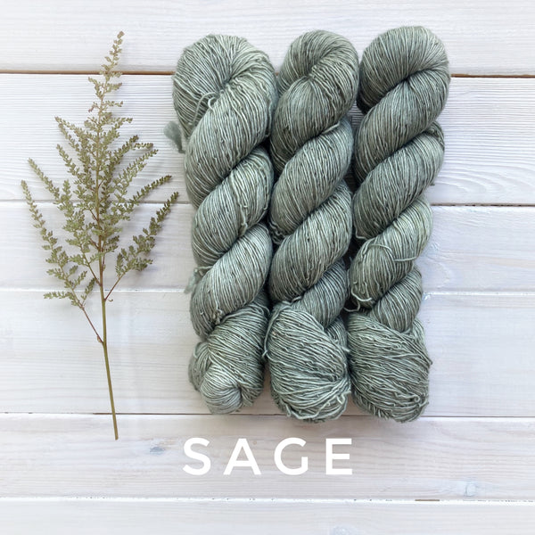 Lichen and Lace 1 Ply Superwash Merino yarn in Canada Sage