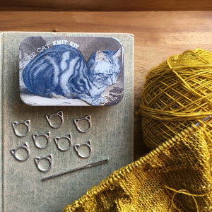 Resin tin silver cat knitting stitch marker set