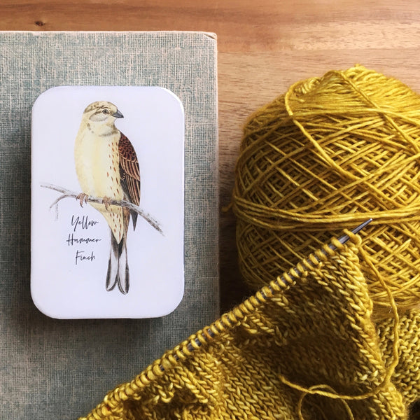 Resin Slider Tins for storage knitting notions yellow hammer finch bird