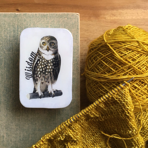 Resin Slider Tins for storage knitting notions wise old owl of wisdom