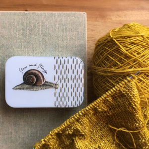 Resin Slider Tins for storage knitting notions slow and steady snail