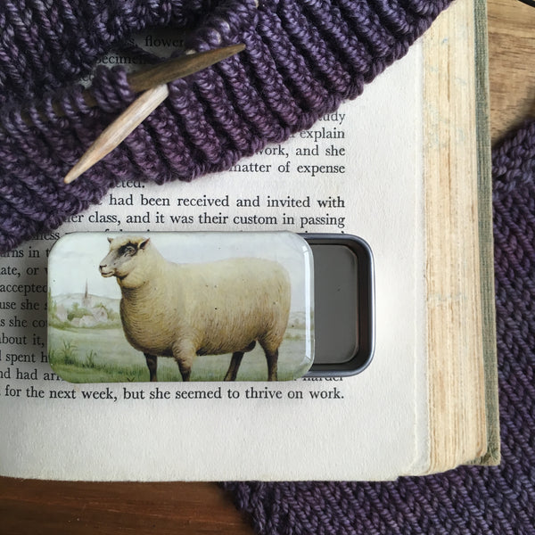 Resin Slider Tins for storage knitting notions sheep