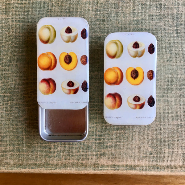 Resin Slider Tins for storage knitting notions vintage peach