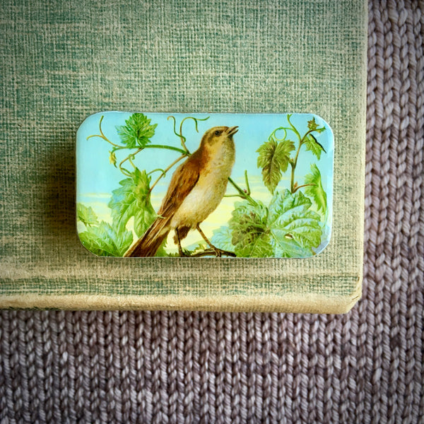 Resin Slider Tins for storage knitting notions vintage bird