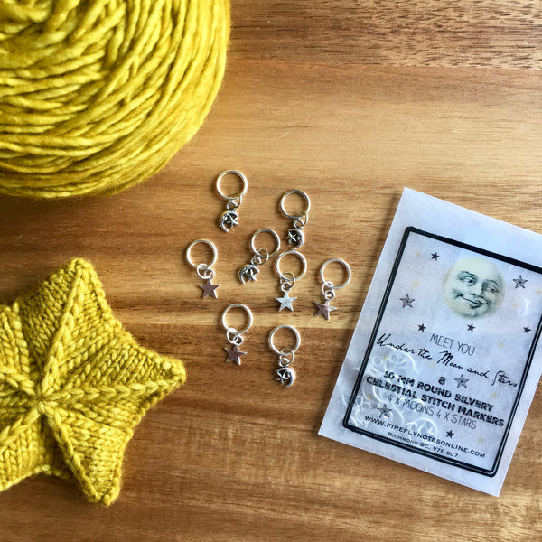 Firefly Notes celestial sun moon star stitch marker project keeper Canada