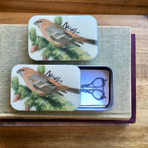 Resin Slider Tins for storage knitting notions bird needle case