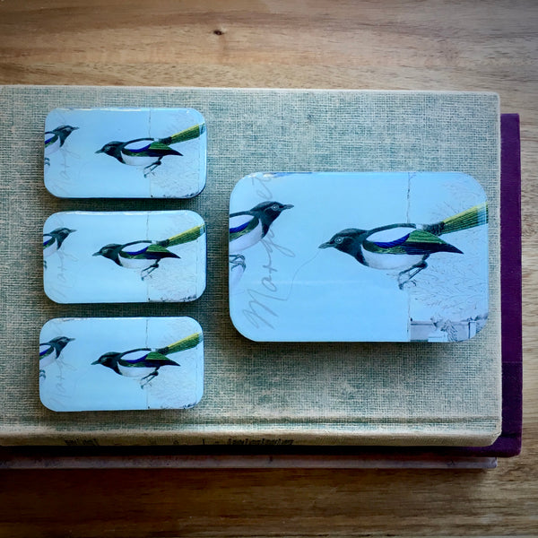 Resin Slider Tins for storage knitting notions magpie bird