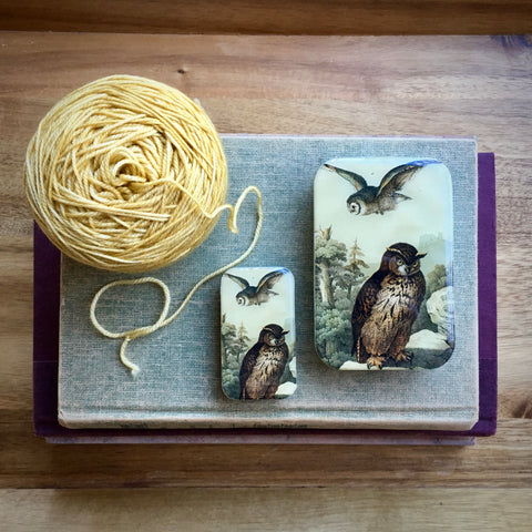 Resin Slider Tins for storage knitting notions wise owls