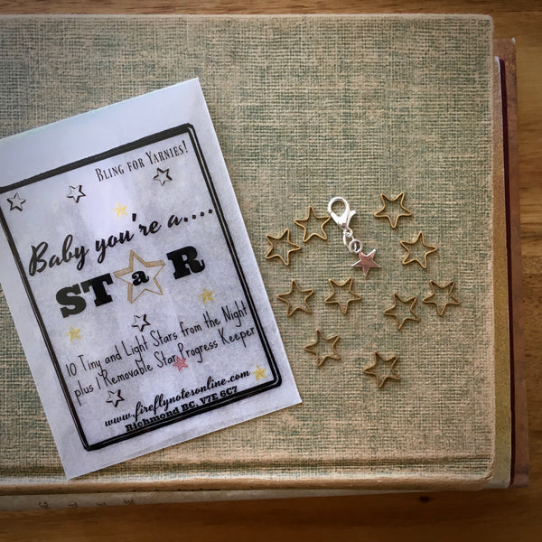 Firefly Notes star stitch marker project keeper Canada