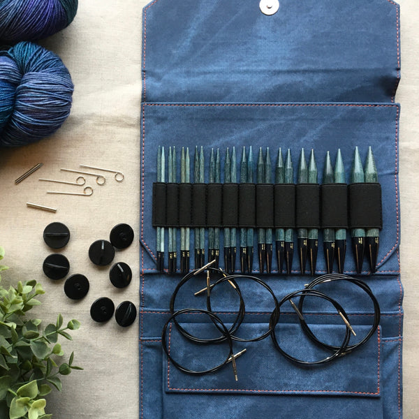"Lykke Driftwood 5"" Interchangeable Circular Needle Set Indigo"