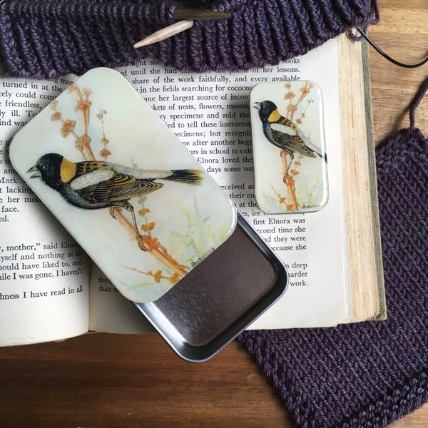 Resin Slider Tins for storage knitting notions bobolink bird