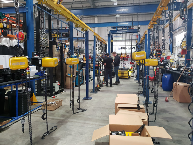 Busy workshop - 18 GP500 Special Voltage Hoists