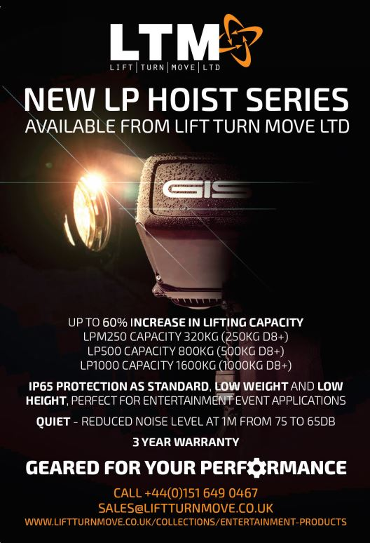 LTM has extended its Entertainment LP Electric Chain Hoist series with the addition of the LP1000 Hoist