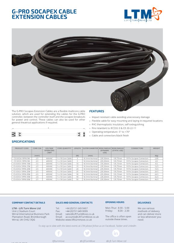 G-PRO Socapex Extension Cable - Datasheet