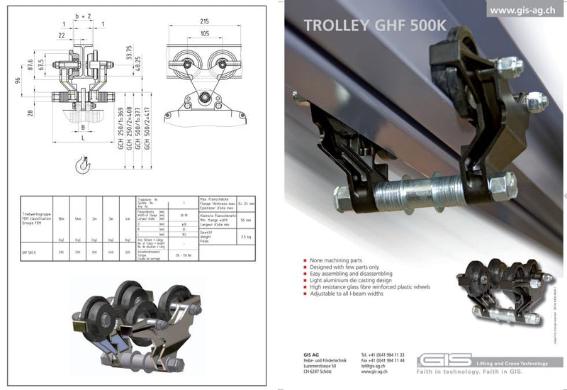 Push Travel Trolley - GHF 500K Type - Datasheet