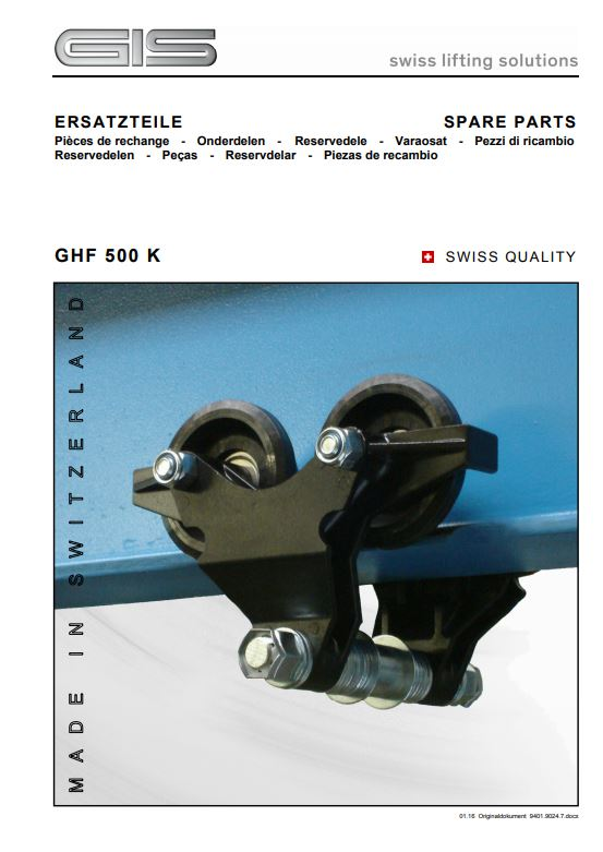 Push Travel Trolley - GHF 500K Type - Spare Parts