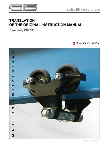 Push Travel Trolley - GHF 500K Type - Instruction Manual