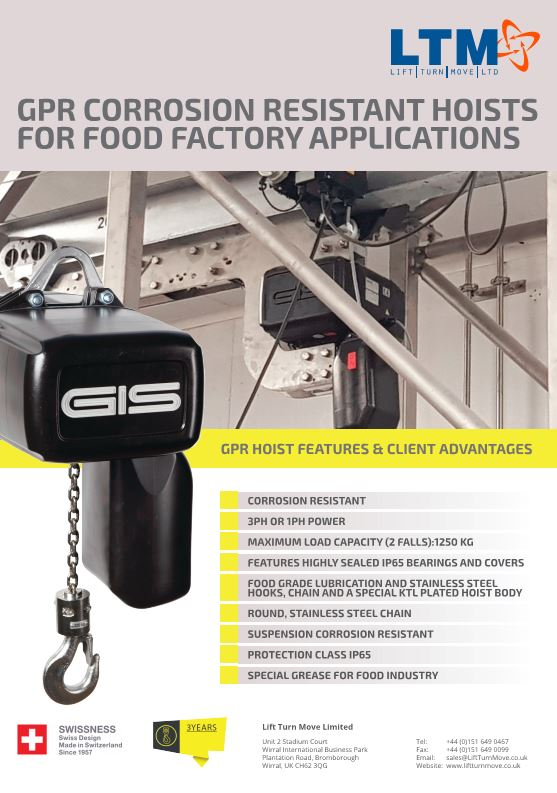 GPR Corrosion resistant hoists for food factory applications - Datasheet - LTM Lift Turn Move