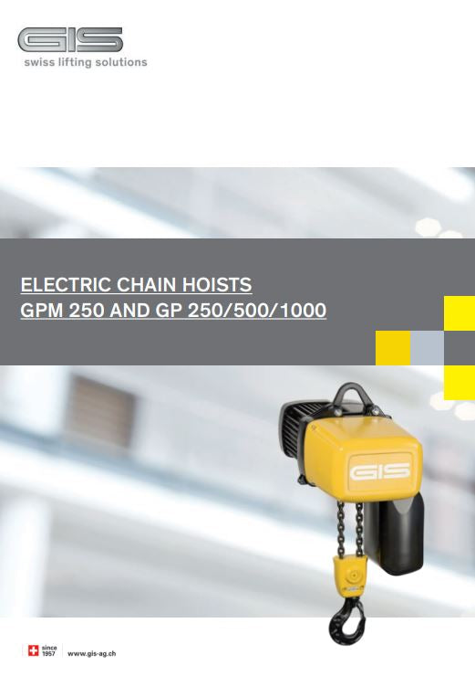 GIS GP 250/500/1000 & GPM 250 Electric Chain Hoist - Brochure - LTM Lift Turn Move