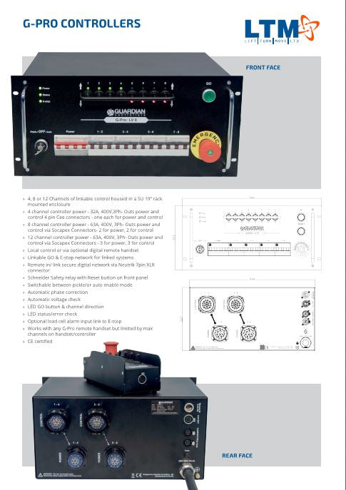 Touring Hoist Controller - Guardian G-Pro 4, 8 or 12 Channel - Datasheet - LTM Lift Turn Move