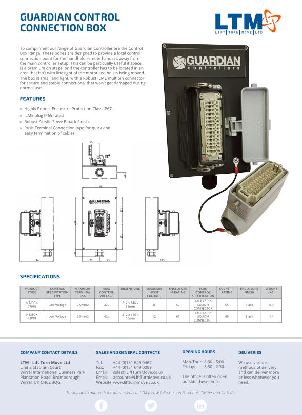Guardian Control Connection Box - datasheet - LTM Lift Turn Move
