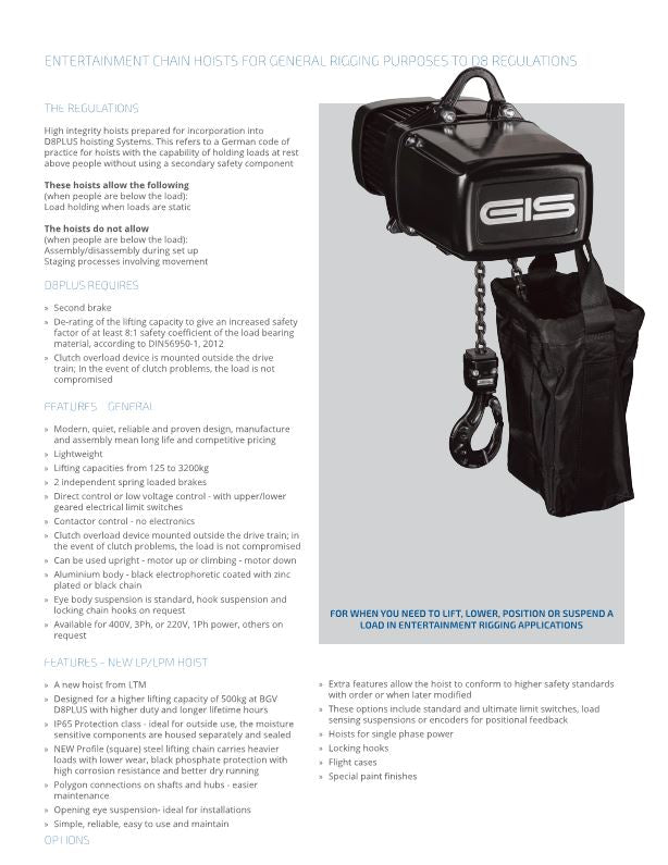 Entertainment Chain Hoists for General Rigging Purposes to D8 PLUS guidelines - Datasheet - LTM Lift Turn Move
