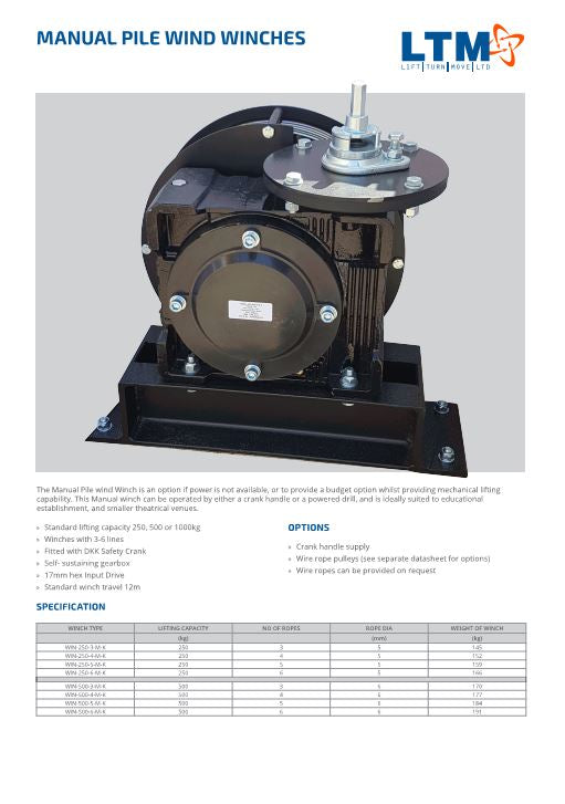 Manual Pile wind Winch 250, 500 - Datasheet - LTM Lift Turn Move