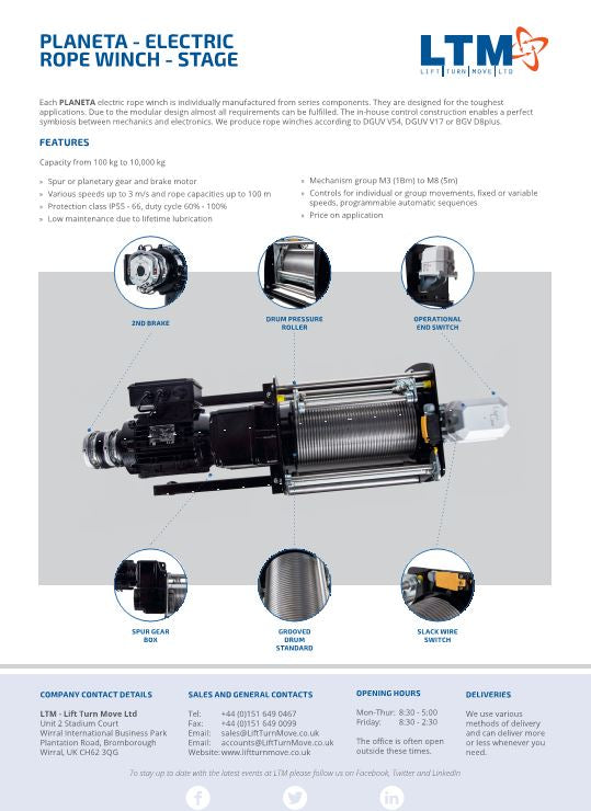 Planeta Electric Rope Winch - datasheet