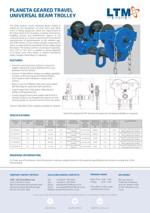 Planeta Geared Travel Universal Beam Trolley - Datasheet 2017 - LTM Lift Turn Move