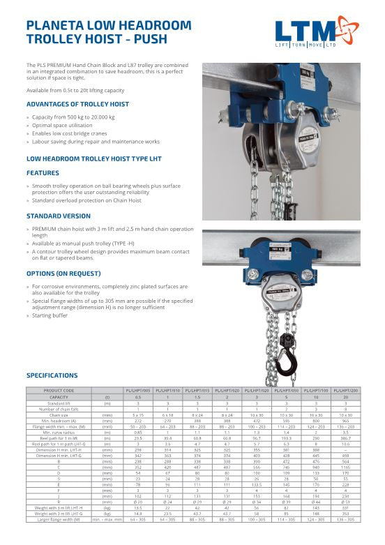 Planeta Low Headroom Trolley Hoist – Push - datasheet