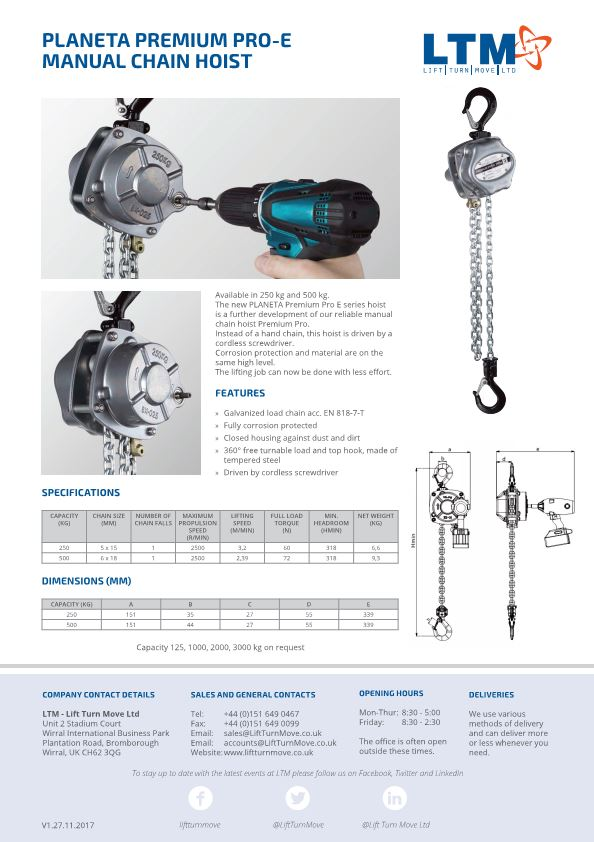 Planeta Premium Pro Battery Powered Manual Chain Hoist - datasheet - LTM Lift Turn Move