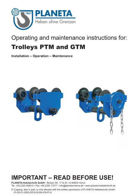 Planeta Push Travel Trolleys - PTM & GTM  - Operating instructions - LTM Lift Turn Move