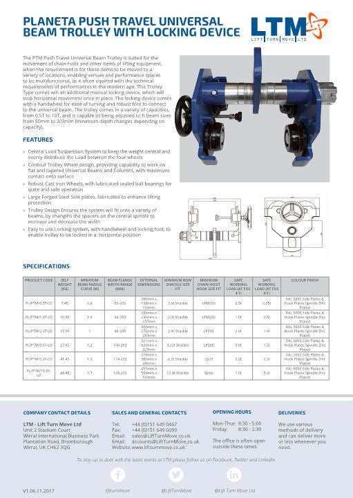 Planeta Push Travel Universal Beam Trolley with locking Device - Datasheet - LTM Lift Turn Move