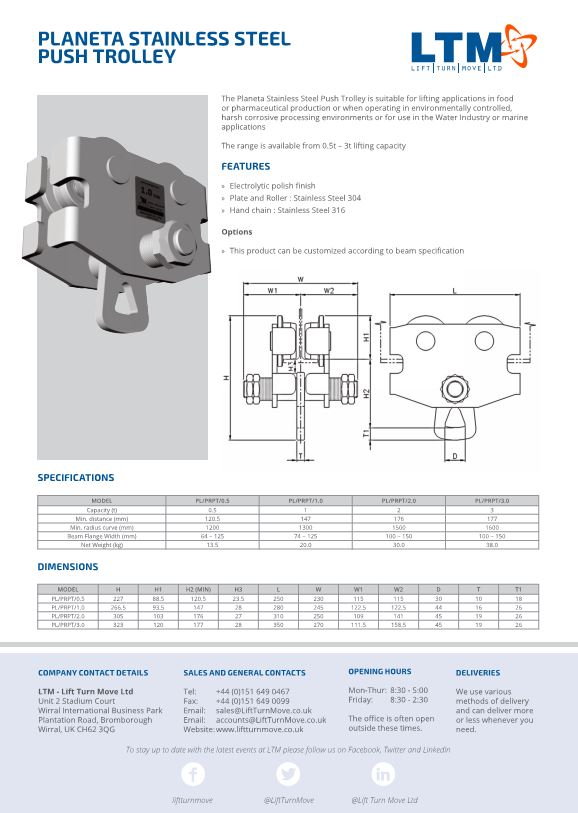 Planeta Stainless steel Push Trolley - Datasheet