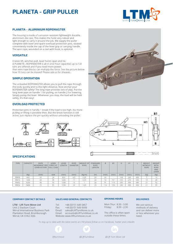 Planeta Wire Rope Puller - datasheet - LTM Lift Turn Move