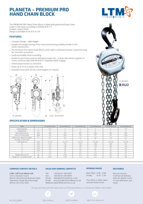 Premium Pro Hand Chain Block - Datasheet - LTM Lift Turn Move