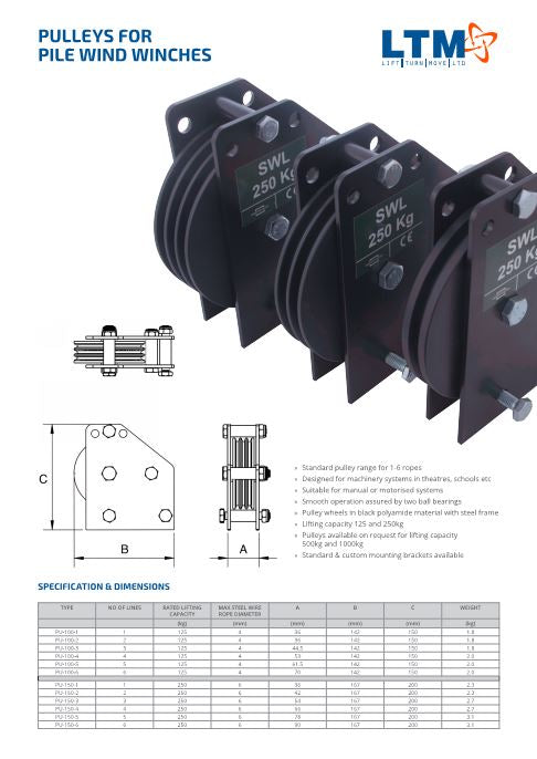 Pulleys for Pilewind winches - datasheet - LTM Lift Turn Move