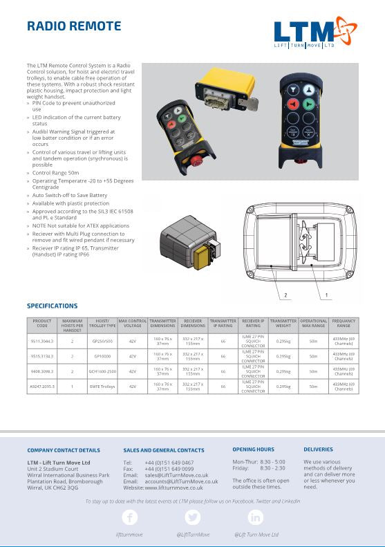 Radio Remote Control System - Datasheet - LTM Lift Turn Move