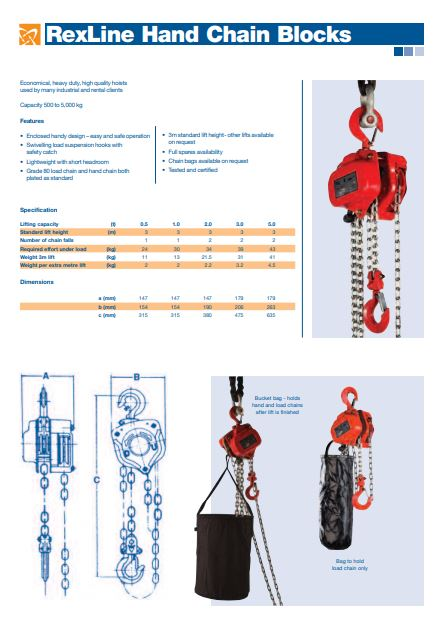 Rexline Manual Hand Chain Block – Datasheet