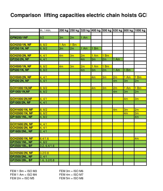 Comparison of lifting capacities electric chain hoists GCH-GP 250,500,1000, 3 phase and 1 phase Hoists