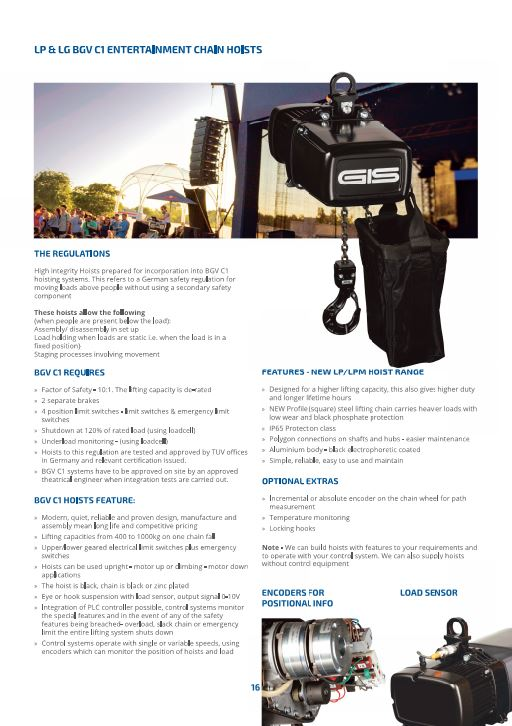 Entertainment Chain Hoists to BGV C1 German Safety guidelines - Datasheet - LTM Lift Turn Move