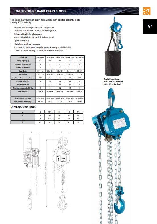 Silverline Manual Hand Chain Block - Datasheet